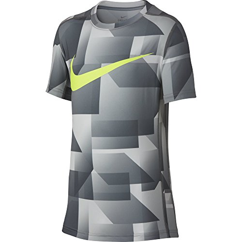 NIKE Boys' Short Sleeve All Over Print Training Top, Cool Grey, X-Large