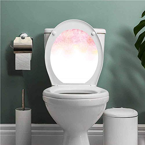 Dale Earnhardt Seat Covers - SCOCICI1588 Flower Toilet Seat Tattoo Cover Colorful Gradient Hibiscus Blossoms Flowers Simple Floral Ombre Effect Art Vinyl Bathroom Decor Orange Red White W14XL14 INCH
