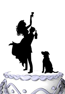 Meijiafei Drunk Bride Groom Holds Bride with Dog Silhouette Wedding Cake Topper