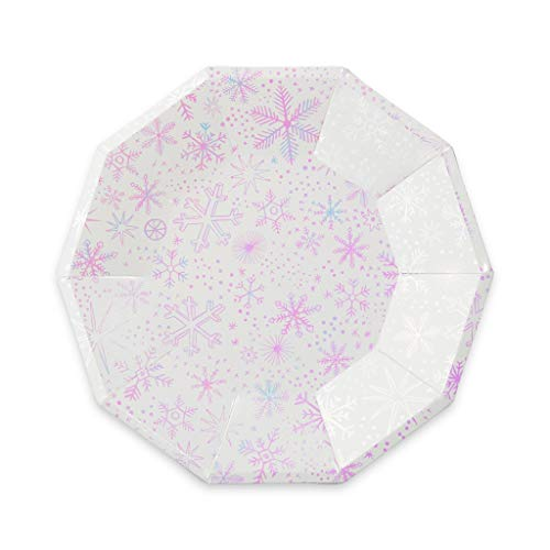 Daydream Society Frosted Iridescent Snowflake Large Paper Party Plates, Pack of 8 ()