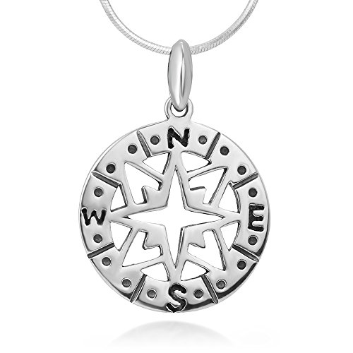 "925 Sterling Silver Compass Navigation Follow Your Dreams Pendant Necklace, 18"" Chain"