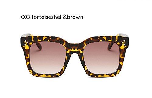 gafas sol Blackgray de Retro Gafas ZHANGYUSEN Vintage UV400 Tortoiseshellbrown señoras cuadradas femenino de mujeres sol para moda 6w8Wq5vP8