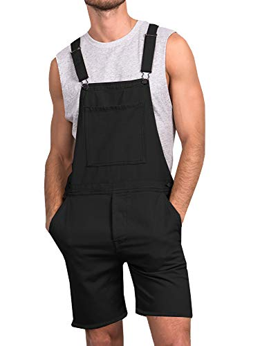 Enjoybuy Mens Bib Overall Shorts Above Knee Length Rompers Walk Dungaree Jumpsuit Relaxed Fit (Knee Length Bib)