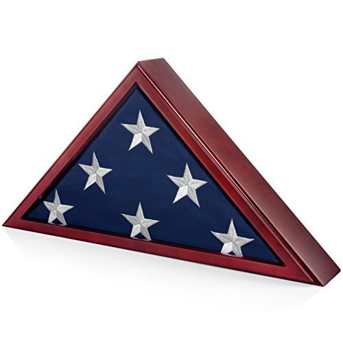 SmartChoice Honors Memorial Flag Display Case for Burial and Presentation Flags, American and Foreign Military Service Commemoration, 5x9 Feet (with Out Engraving)
