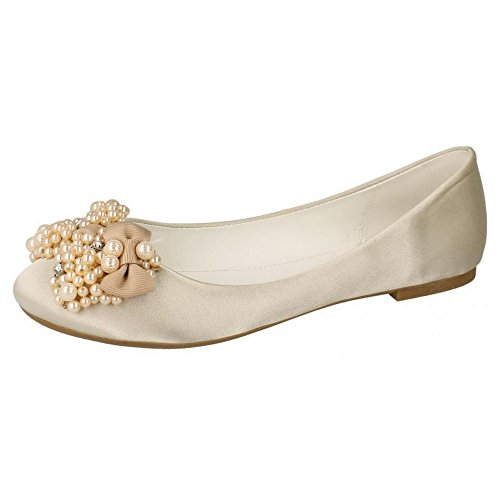 Spot On Womens/Ladies Flat Ballerina Wedding Shoes with Beaded Bow Gold Satin g55qln