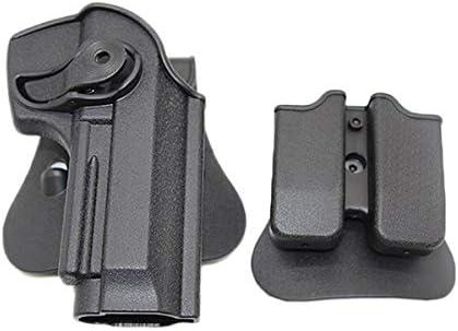 L-Yune, Arma de la Caja Serie Defensa polímero de retención de Roto pistolera táctica Militar Pistola Airsoft Caza for Beretta M9 92 96 Funda (Color : Negro)