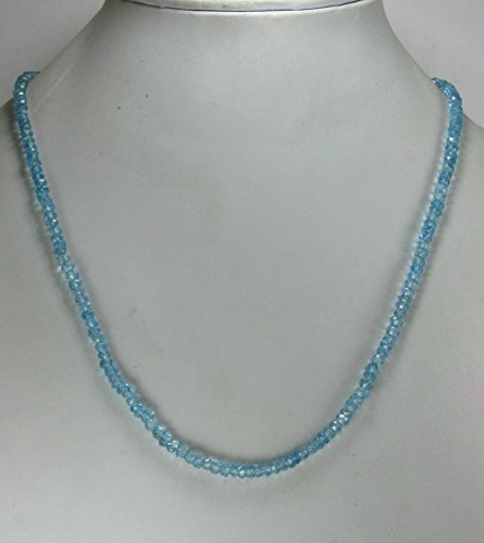 Genuine Blue Topaz Faceted Beads Necklace, 21 Inches Necklace, November Birthstone Jewelry, Gift for Her