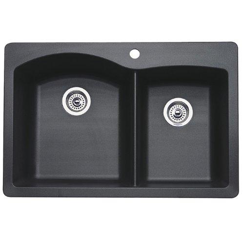 Blanco 440215 Diamond Double-Basin Drop-In or Undermount Granite Kitchen Sink, ()