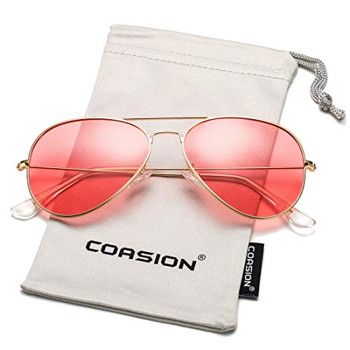 COASION Classic Polarized Aviator Sunglasses for Men Women Mirrored UV400 Protection Lens Metal Frame (Gold Frame/Clear Pink Lens)