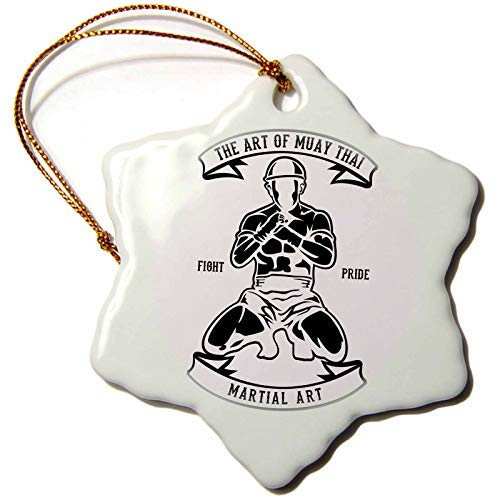 3dRose Alexis Design - Vintage - Image of Martial Arts Fighter. The Art of Muay Thai. Fight Pride - 3 inch Snowflake Porcelain Ornament (ORN_292303_1) by 3dRose