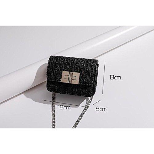 Black Sac Paquet Diagonal Épaule Mode Une LXYIUN pour Tissé Femme BqTvzgw