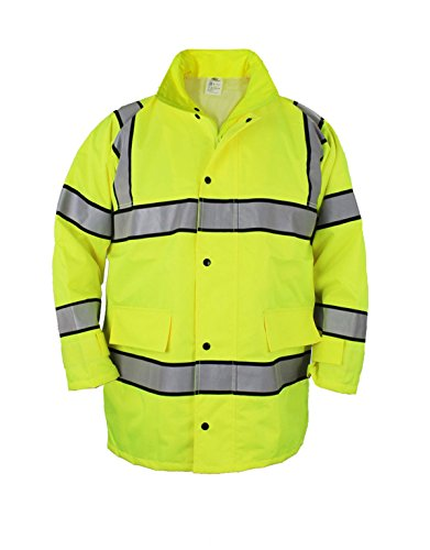 FIRST CLASS HIGH VISIBILITY RAINCOAT WITH REFLECTIVE STRIPES (BLACK) (2XL, Lime Green) (Coat Jacket Reflective)