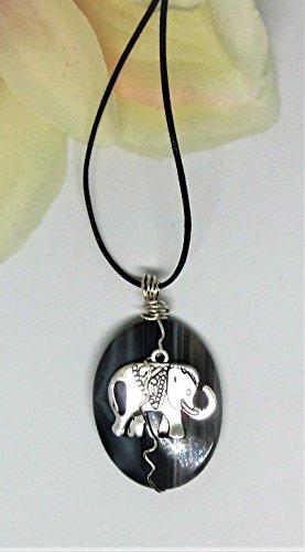 Elephant Pendant Necklace, Elephant Lover, Green Jasper, Andrea Lapins Art