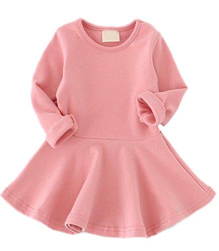 Guandiif Baby Girls Dress Ruffle Long Sleeve Cotton Dress Pink 24-36Months
