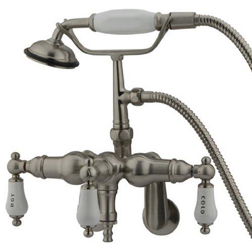 Kingston CC423T - Relleno de patas de latón con ducha de mano, Contemporáneo, 3-3/8-Inch Adjustable Spread, Níquel...