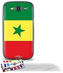 """Carcasa Flexible Ultra-Slim SAMSUNG GALAXY S3 / I9300 de exclusivo motivo [Bandera Senegal] [Negra] de MUZZANO  + 3 Pelliculas de Pantalla """"UltraClear"""" + ESTILETE y PAÑO MUZZANO REGALADOS - La Protección Antigolpes ULTIMA, ELEGANTE Y DURADERA para su SAMSUNG GALAXY S3 / I9300"""