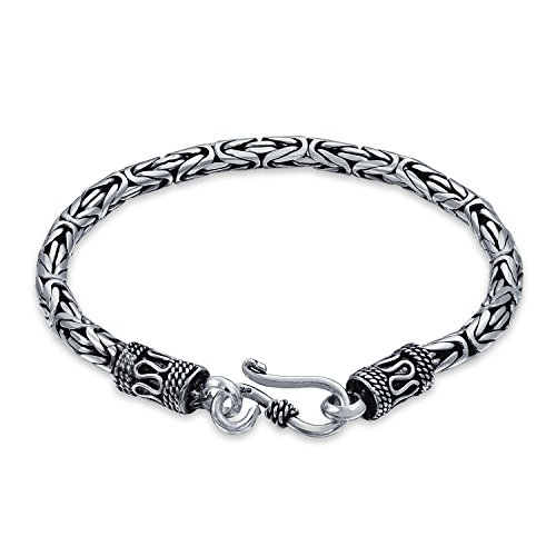 Bali Byzantine Chain Link Bracelet Eye And Hook Antiqued 925 Sterling Silver For Women For Men