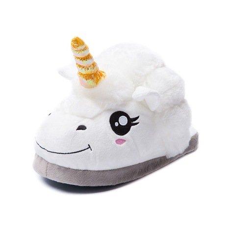 Kenmont Unicorn Einhorn Plüsch Hausschuhe Damen Pantoffeln |slipper|Plüsch Spielzeug| Hausschuh|Schuhe für Erwachsene|Weihnachtsgeschenk|Geschenke, 28cm Weiß