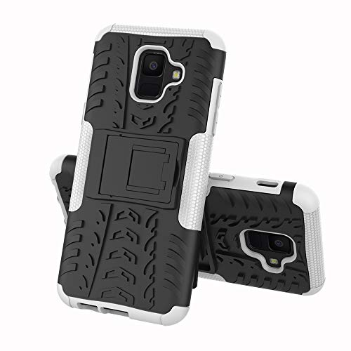 Pattern Tyre - Heavy Galaxy A6 Case Tyre Pattern [Heavy Duty] Tough Dual Layer 2 in 1 Rugged Rubber Hybrid Hard/Soft Impact Protective Cover with Kickstand (White)