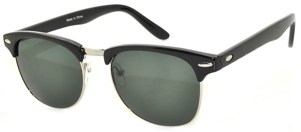 New Fashion Classic Black-Silver Half Frame Sunglasses with Green Lens by OWL (Image #1)