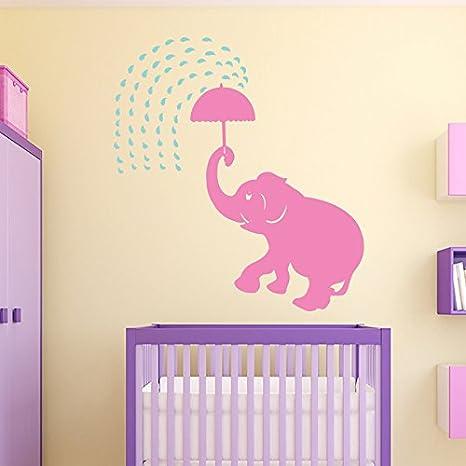 Amazon Com Wall Decal Baby Elephant Umbrella Rain Animals Vinyl Sticker Home Décor Kids Girl Boy Bedroom Living Children S Room Nursery Playroom Murals M103 Home Kitchen