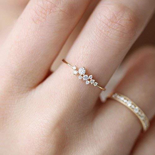 Diamond Flower Ring Daoroka Crystal Diamond Engagement Wedding Ring for Women Girl Size 6-10 (8, Gold)