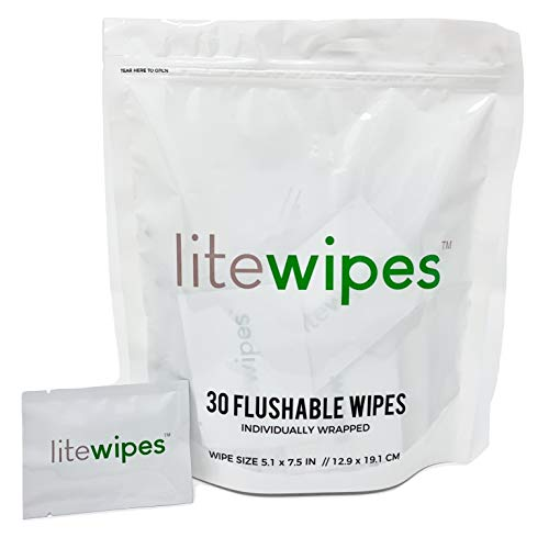 Litewipes 30 Count Single Discreet Flushable Butt Wipes for Office/Travel/Outdoors, Unscented with Aloe Vera & Witch Hazel Extract (Individually Wrapped Biodegradable Cleansing Wipes)