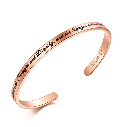 Solocute Elegant Memories Gold Plated Bangle Bracelet Engraved She is Clothed with Strength and Dignity, and she Laughs Without Fear of The Future Inspirational Cuff Jewelry