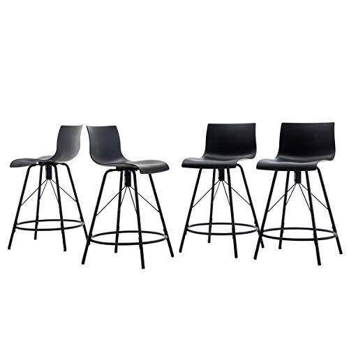 Haobo Metal Bar Stools, Counter Stools Chairs Plastic Seat Swivel Stools Set of 4 for Indoor, Outdoor, Home, Kitchen, Bar Counter, Business (30