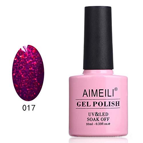 AIMEILI Soak Off UV LED Gel Nail Polish - Roby Sparkle (017) 10ml