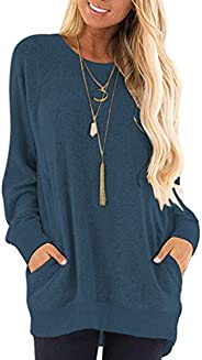 MISFAY Womens Casual Long Sleeve Round Neck Pocket T Shirts Blouses Tunic Sweatshirt Tops with Pocket