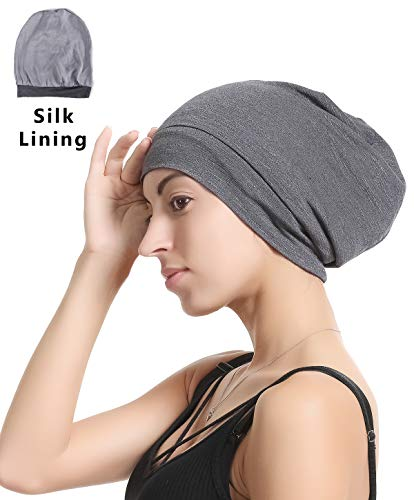 (Slap Night Cap Sleep Hat - Grey Balck Women chemo cancer headwer Organic Bamboo Cotton Satin Silk Satun Satin lined Bonnet Slouchy Summer Hair Beanie For Women Lady Lightweight Light)