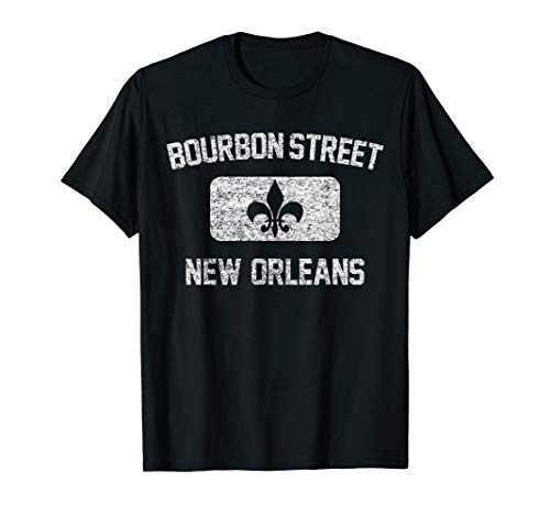 - Bourbon Street New Orleans Tshirt - Gym Style Distress Print