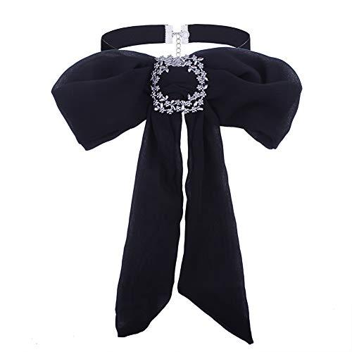 PINKH Velvet Choker Ladies Bow Tie Collar Choker Necklace Neckwear Bowknot Chiffon Neckties Adjustable