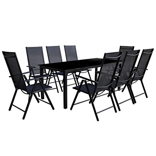 Outdoor 9 Pieces Dinning Set 1 Dinning Table + 8 Textilene Dinning Chairs Foldable Furniture Set for Patio Garden Backyard Aluminum Black (8 And Garden Chairs Piece Table)