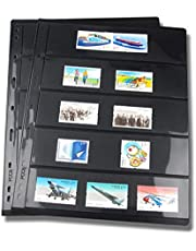 ZHANGLI Stamp Stock Book, 10pcs/lot Black Not Include Cover Inners Double Sided Loose Leaf Stamp Pages PVC