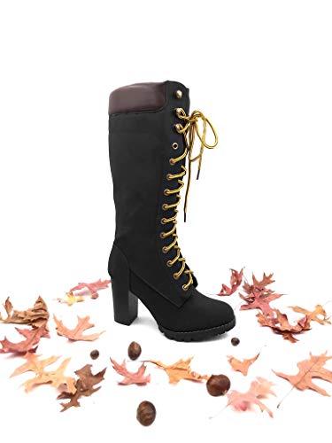 Acolchado Rock Ligeramente Piel Alto Altas Botas Mujer Zapatillas Negro Angkorly Tacón Cm De Militares Moda Street Ancho Zapato Forrada 9 nqBzxUSW
