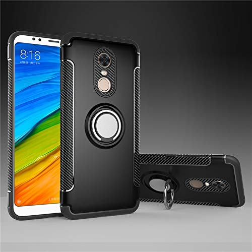 Fitted Cases - For Xiaomi Redmi 5 Plus Case Note 5 Hybrid Silicone Pc Rugged Armor Metal Finger Ring Holder Xiomi Xiaomi Redmi5 Phone Cover - For Redmi 5 Black - Nose Tabs Prom Bundles]()