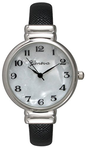 Geneva Saffiano Leather Bangle Watch with Silver White Face Dial (Black)
