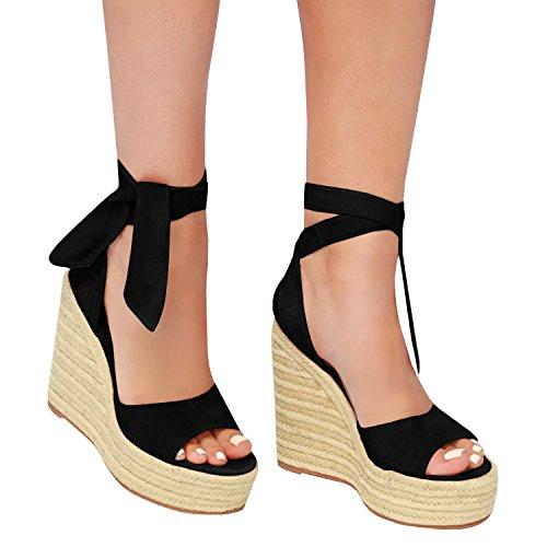 Enjoybuy Womens Espadrille Wedge Sandals Ankle Tie Up Peep Toe Platform Shoes High Heel Sandals (9.5 B(M) US, 02-Black)
