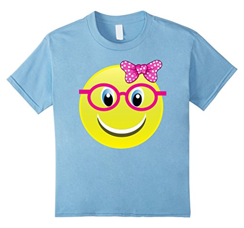 Kids Smiling Emoji Buck Teeth Girl Nerd Glasses Costume Shirt 12 Baby (Nerd Outfits Girls)