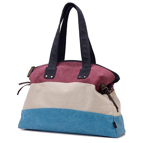 Frauen Jahrgang Leinwand Schulter Ipad Messenger Handtasche Sling Reisen Tasche ,Purple-OneSize