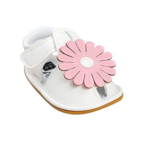 Itaar bebé niñas verano flores sandalias zapatos antideslizante suela de goma suave para bebés niños primera caminantes rojo rosso Talla:6-12 meses rosa