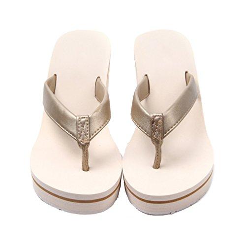 Zeppa Mare Elegant Con Pantofole Estive Beige Ciabatte Scarpe Yiiquanan Tacco Spiaggia Infradito Donna Sandali Da p017zq