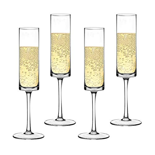 Premium Crystal Champagne Flute Glasses Elegantly Designed Hand Blown Champagne Glasses, Lead Free, Set of -