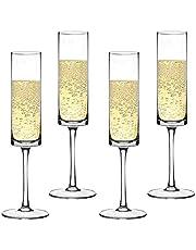 Premium Crystal Champagne Flute Elegantly Designed Hand Blown Wedding Champagne Flutes Glasses, Lead Free, Set of 4