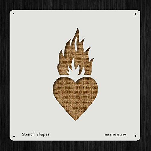 Sacred Heart Burn Christian Devotion Style 18595 DIY Plastic Stencil Acrylic Mylar Reusable