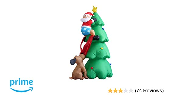 Cartoon Christmas Tree.6 Foot Inflatable Christmas Santa Claus Climbing On Christmas Tree Chased By Dog Decoration