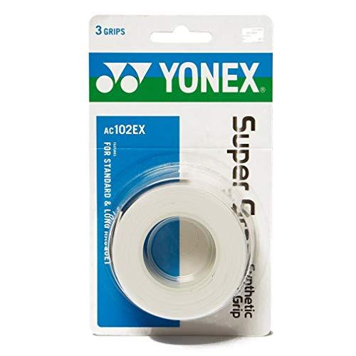 Yonex Super Grap Overgrip 3 Pack (White) (Best Badminton Grip For Sweaty Hands)
