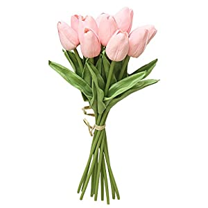 Rm.Baby Artificial Fake Flowers Tulip Floral Real Touch Looking PU Material Arrangement Bouquets Home Garden Decor Room Office Centerpiece Party Wedding Decor,Pack of 10(vase not Included) 106